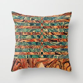 Geometric Abstract Painting - Fluid Painting - Brown, Red, Orange, Blue Abstract - Marbling Art Throw Pillow