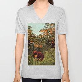 "Henri Rousseau ""Apes in the Orange Grovee"", 1910 Unisex V-Neck"
