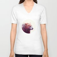 digital V-neck T-shirts featuring Bear // Calm by Amy Hamilton