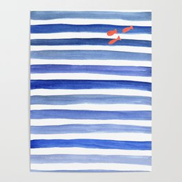 Blue stripes with fish minimal art Poster