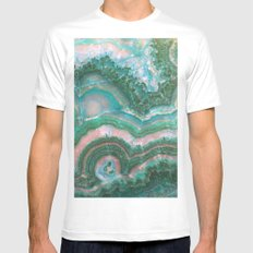 Teal & Pink marble White Mens Fitted Tee MEDIUM
