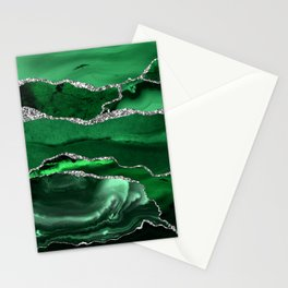 Glamour Emerald Bohemian Watercolor Marble With Silver Glitter Veins Stationery Cards