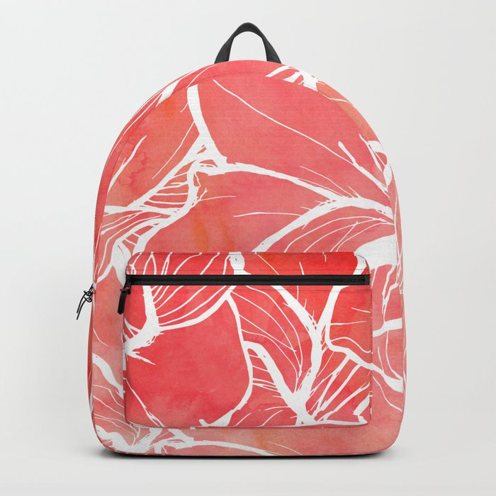 Modern white handdrawn flowers coral watercolor pattern Backpack
