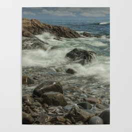 Waves Crashing against the Shore in Acadia National Park Maine Poster