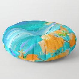Sea landscape painting, impressionism, expressionism, loose art Art Print Floor Pillow