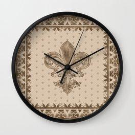 Fleur-de-lis - Pastel Gold Wall Clock