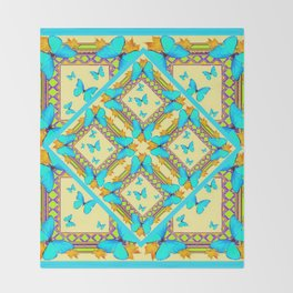 Western Style Turquoise Butterflies Creamy Gold Patterns Art Throw Blanket