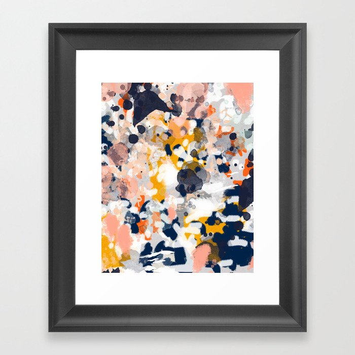 Stella - Abstract painting in modern fresh colors navy, orange, pink, cream, white, and gold Framed Art Print