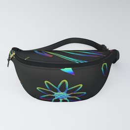 Greeting card with flowers and butterflies in neon. Butterflies and flowers and colored fragments on Fanny Pack