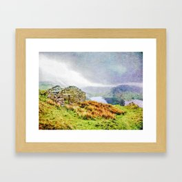 Old Stone ruins and black sky above Haweswater, Lake District. Cumbria, Uk, Watercolor Art Framed Art Print