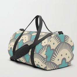 Fan Pattern Gray and Turquoise 991 Duffle Bag