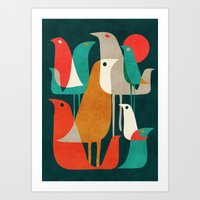 gold Art Prints featuring Flock of Birds by Picomodi