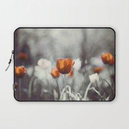 Orange Grey Tulip Photography, Burnt Orange Tulip Flowers Photo Laptop Sleeve