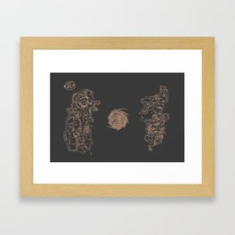 Map of Classic WoW - Vanilla Azeroth (Charcoal) Framed Art Print