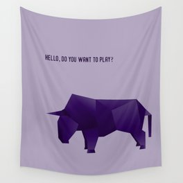 Do You Want to Play? - Origami Purple Bull Wall Tapestry