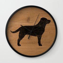 Black Labrador Retriever Dog Silhouette Wall Clock