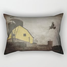 Yellow Barn on Sepia Background With Birds Flying A170 Rectangular Pillow