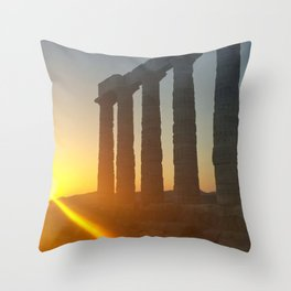 Temple of Poseidon Throw Pillow