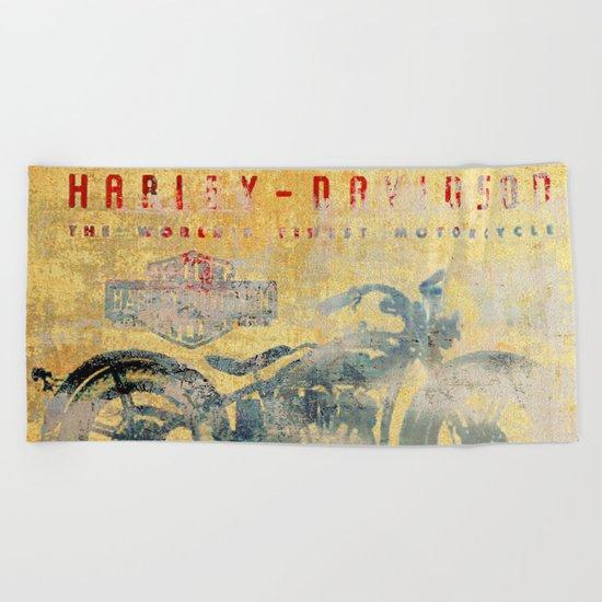 HD - Vintage Motorcycle Beach Towel