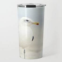 Seagull Beach Photography, Coastal Bird Jersey Shore Art, Blue White Seashore Birds Photo Travel Mug