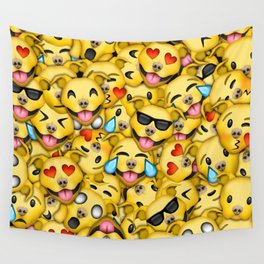 Pitbull Pattern Yellow Wall Tapestry