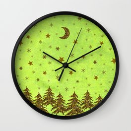 Sparkly Christmas tree, stars on abstract green paper Wall Clock
