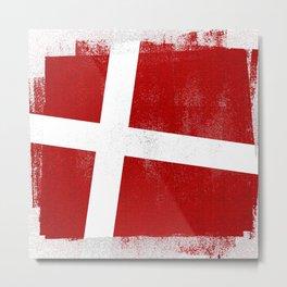 Danish Distressed Halftone Denim Flag Metal Print
