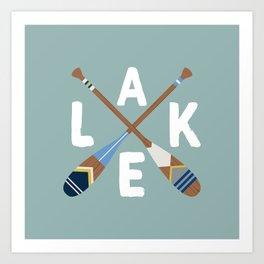 LAKE LIFE Painted Paddle Oars Art Print