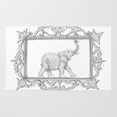 grey frame with elephant Rug