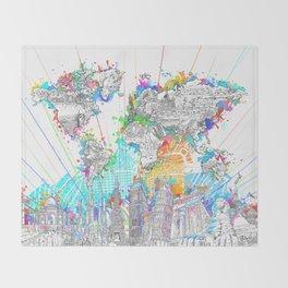 world map city skyline 6 Throw Blanket