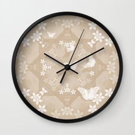 Dreamy butterflies and mandala in iced coffee Wall Clock
