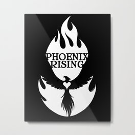 PHOENIX RISING  white with flames and heart center  Metal Print