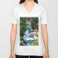 minerals V-neck T-shirts featuring The river in the mountains by Carlo Toffolo