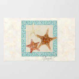 White Finger, Knobby, Orange Cushion Starfish Modern Ocean Shell Beach Striped Rug