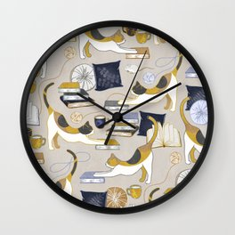 A Comforting Cup of Coffee in The Cozy Company of Cats - Caturday Reading Wall Clock