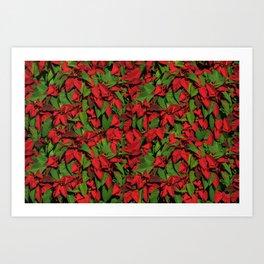 Holiday Poinsettia Pattern Art Print