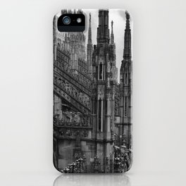 Milan Cathedral, Lombardy, Milan, Italay black and white portrait photograph iPhone Case