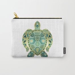 Royal Sea Turtle - turquoise and gold Carry-All Pouch