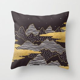 Gold Mountain Peaks Throw Pillow