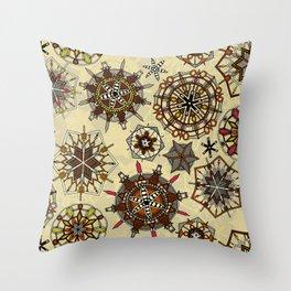 vintage mandala snowflakes Throw Pillow