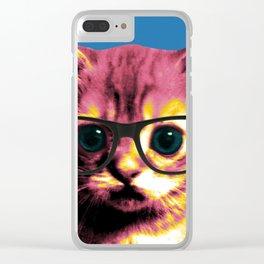 Pop Art Cat Clear iPhone Case