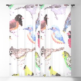 colorful birds stained glass art- budgie cardinal goldfinch titmouse kingfisher cedar waxwing juncos Blackout Curtain