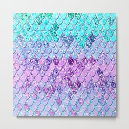 Mermaid Scales with Unicorn Girls Glitter #9 #shiny #decor #art #society6 Metal Print