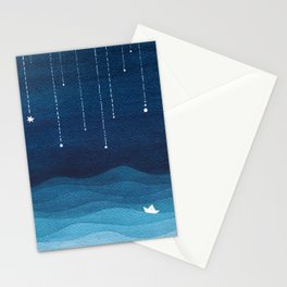 Falling stars, blue, sailboat, ocean Stationery Cards