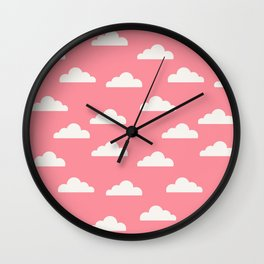 Clouds Pink Wall Clock