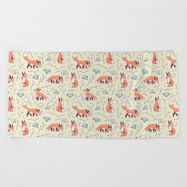 Fox and Bird Pattern Beach Towel