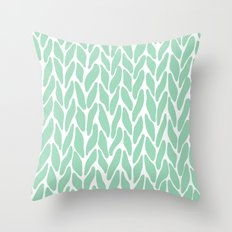 Hand Knitted Mint Throw Pillow