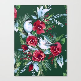 Winter Birds Dark Green Canvas Print