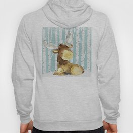 Winter Woodland Friends Deer Moose Snowy Forest Illustration Hoody