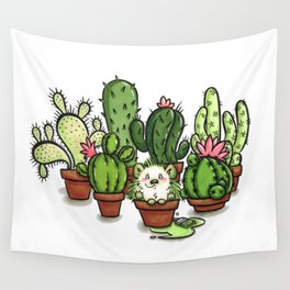 Green - Cactus and Hedgehog Wall Tapestry